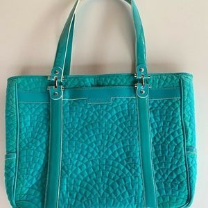 Vera Bradley Quilted Teal Business Tote Purse Bag